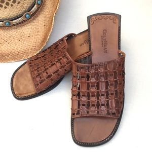 """Cole Haan Country"" brn lattice leather sandal-10B"